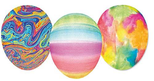 Nestler 3er Set Ostereier zum Befüllen Größe 12 cm - Handgemachte Eier aus Pappe in verschiedenen Größen - buntes Motiv Malerei - Liebevolles Ostergeschenk (12cm)