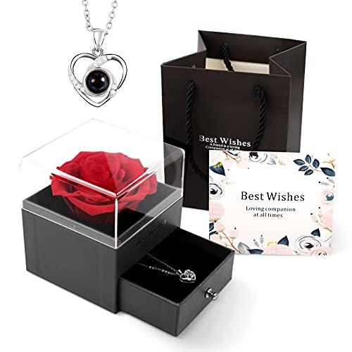 Handgemachte Echte Ewige Rosen mit Halskette Geschenke zum Valentinstag,romantische ungewöhnliche Geschenke für Frauen/ihre/Freundin,Jubiläum/Hochzeit/Muttertagsgeschenk/Geburtstags