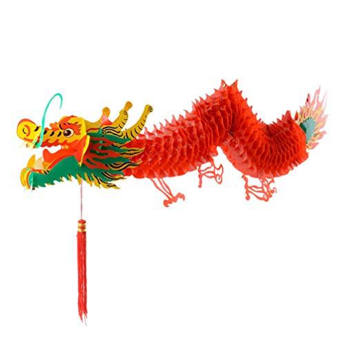 Amosfun Chinesisches Neujahr Drachen Laterne Girlande Kunststoff Hängedeko für Chinesische Neujahr Dekoration Silvester Party Deko Gartendeko