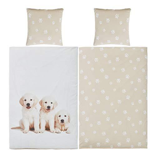 Bettwäsche Hunde 135x200 Baumwolle Kinder Mädchen Jungen Kinder-Bettwäsche-Set Hund-Welpe-Motiv Jugendliche - weiß beige - mit YKK Reißverschluss - Hundebettwäsche - Hundebaby mit Pfoten-Motiv
