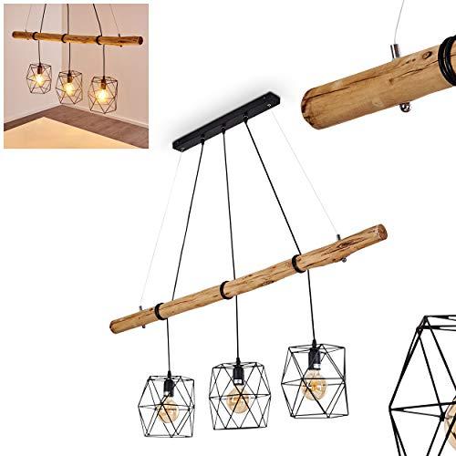 Pendelleuchte Seegaard, Hängelampe aus Metall/Holz in Schwarz/Braun, 3-flammig, 3 x E27 max. 60 Watt, moderne Hängeleuchte geeignet für LED Leuchtmittel