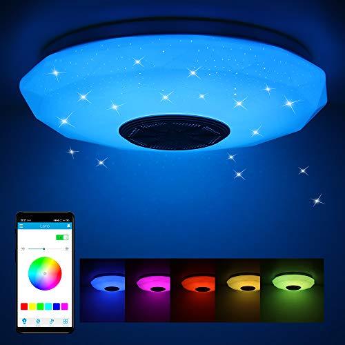 Frontoppy 36W LED Deckenleuchte mit Bluetooth Lautsprecher, Fernbedienung oder APP-Steuerung, Farbwechsel-Option, 3400 Lumen Ø29cm Dimmbare Deckenleuchten für Wohnzimmer丨Kinderzimmer丨Schlafzimmer
