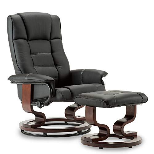 MCombo Relaxsessel mit Hocker, 360°drehbarer Fernsehsessel mit Liegefunktion, moderner TV-Sessel für Wohnzimmer, Kunstleder, 9019 (Schwarz)