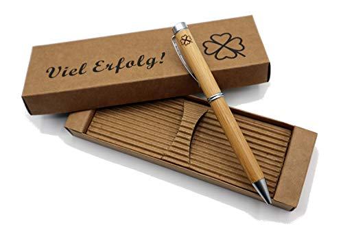Besonders edler MORWE Bambus-Kugelschreiber mit Kleeblatt Gravur - Nachhaltiger Holzkugelschreiber als Glücksbringer - Geschenk für Studenten, Kollegen für Prüfung & Abschied