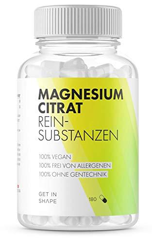 Magnesium Citrat Kapseln, Vegan, optimale Dosierung für eine dauerhafte Einnahme, Verringerte Müdigkeit - Hergestellt, geprüft und getestet in Deutschland für Get in Shape