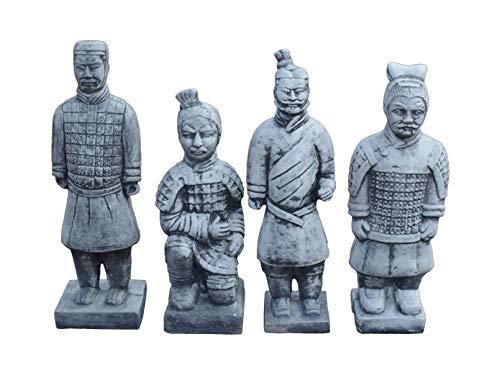gartendekoparadies.de Massive Steinfiguren Set 4 chinesischer Terrakotta Krieger aus Steinguss frostfest