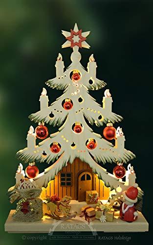 Schwibbogen 3D Tanne mit roten Kugeln Original Erzgebirge Handarbeit RATAGS Doppelschwibbogen wunderschöne Dekoration für Weihnachten