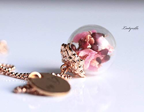 Personalisierbare Blüten Kette - Roségoldfarbener Schmuck mit Ginster in einer Glaskugel/Geschenk für Sie/Geburtstagsgeschenk