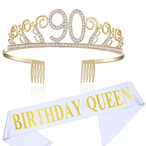 Coucoland Geburtstag Krone mit Geburtstag Schärpe Satin Birthday Crown and Sash Set Geburtstagsdeko Geschenk für Damen Geburtstag Party Accessoires (90 Jahre alt - Gold)