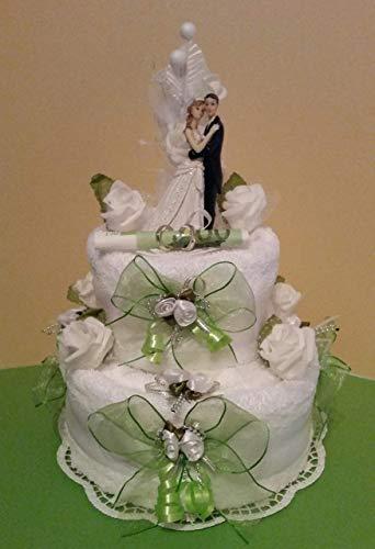 * Handtuchtorte * Hochzeit * Geldgeschenk * zart-grün