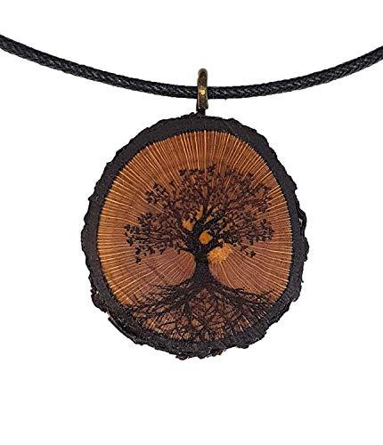 Baum des Lebens Holz Hals-Kette - Natur - Holzanhänger - Vegan - Nachhaltig - Frauen - Halskette - Gravur - Yoga - Bedeutung - Geschenk - Natur-Schmuck - Damen - Frauen - Holzschmuck - Hippie