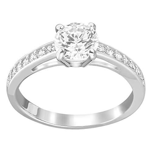 Swarovski Attract Round Ring, Rhodinierter Damenring mit Funkelnden Swarovski Kristallen