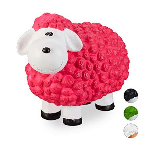 Relaxdays XXL Gartenfigur Schaf, Tierfigur, wetterfest, handbemalte Gartendeko, innen & außen, Keramik, 44 cm, pink