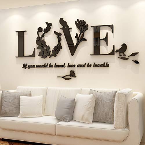 3D Love Wandaufkleber Kristalldekoration Schlafzimmer Wohnzimmer Sofa Hintergrund Wandaufkleber dreidimensionale Wanddekoration Wandbild Wandaufkleber DIY Deko Wandtattoo (M, Schwarz)