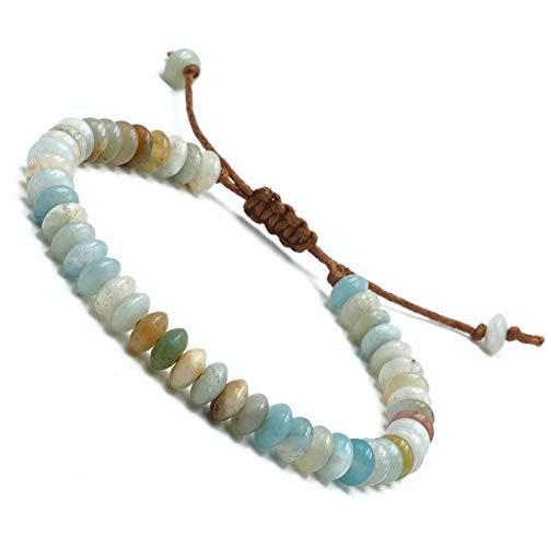 BENAVA Yoga Armband aus Amazonit Edelstein Perlen | Perlenarmband für Meditation | Boho Buddha Esoterik Schmuck Freundschaftsarmband Energiearmband | 16-24 cm verstellbar