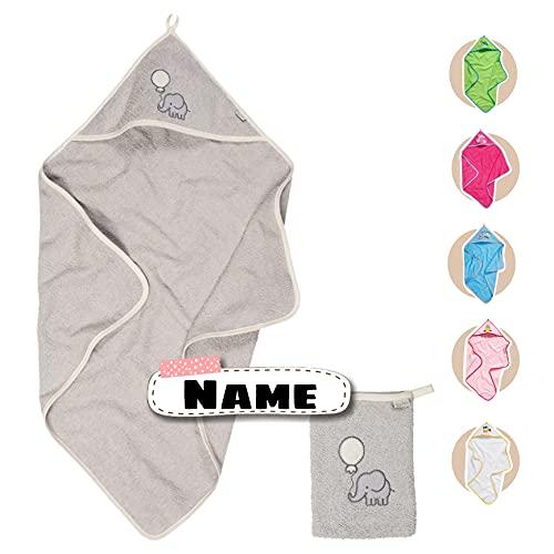 Baby Kapuzenhandtuch Set mit Waschlappen   Baby Handtuch Kapuzenbadetuch 75 x 75 cm   personalisiert mit Name   Baby Badetuch Bestickt mit Namen   Jungen Mädchen (Grau Elefant)