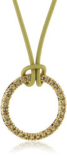 ESPRIT Damen Halskette 925 Sterling Silber rhodiniert Kunststoff Zirkonia Brilliance Gold Lime 42 cm grün ESNL92477D420