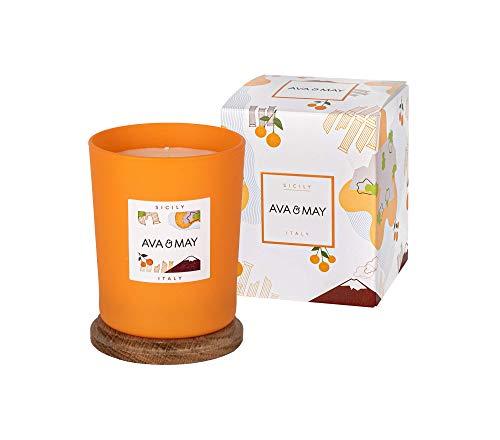 AVA & MAY Sizilien Duftkerze (180g) – vegane Kerze im Glas mit fruchtigen Düften von Honig, Magnolie und Orange – Handgemachte Kerze mit Sommergefühlen