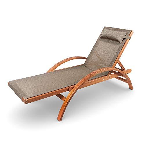 Ampel 24 Liegestuhl Karibik, verstellbare Rückenlehne, Sonnenliege mit Armlehnen, Gartenmöbel aus vorbehandeltem Holz, wetterfeste Gartenliege