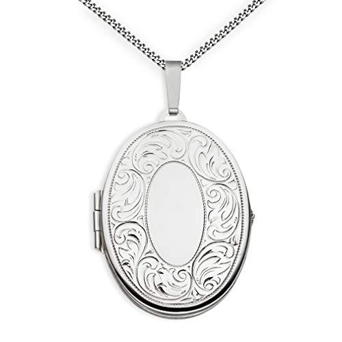 Medaillon XXL teilmattiert Ornament verziert oval 925 Sterling Silber zum öffnen für Bildereinlage 2 Fotos Amulett mit schöner Randverzierung + Kette mit Schmuck-Etui von Haus der Herzen®