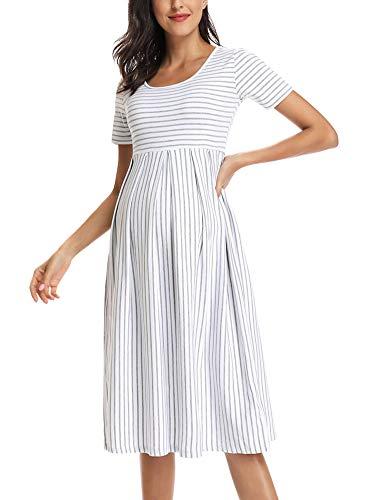 Love2Mi Damen Kurzarm Umstandskleid Schwangerschafts Kleid Streifen Knielang A-Line Umstandsmode, Weißer Grauer Streifen, M