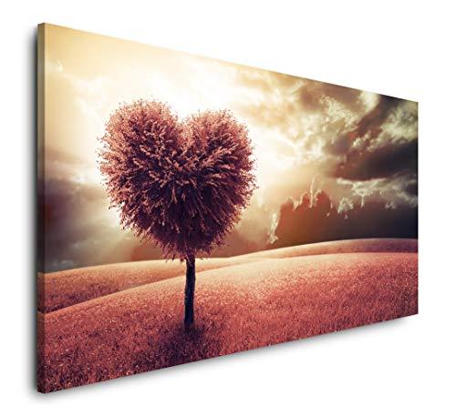 Paul Sinus Art Herzförmiger Baum 120x 60cm Panorama Leinwand Bild XXL Format Wandbilder Wohnzimmer Wohnung Deko Kunstdrucke