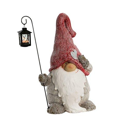 Pureday Weihnachtsdeko - Dekofigur Weihnachtswichtel mit Laterne - Teelichthalter - Höhe ca. 50 cm