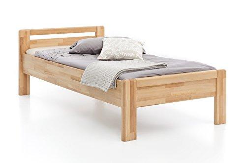 Woodlive Massivholz-Bett aus Kernbuche, als Seniorenbett geeignet, in Komforthöhe, geöltes Einzel- und Komfortbett mit Kopfteil (100 x 200 cm)