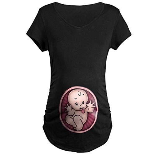 Snakell Mutterschaft T-Shirt Damen Sommer Kurzarm Umstandsmode T-Shirts Cute Mutterschaft Kleidung Lustige Witzig Spähen Baby Gedruckt Baumwolle Schwangerschaft Tops …