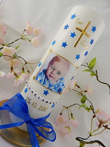 Taufkerze mit FOTO Fotokerze Sterne Kreuz zur Taufe Taufkerzen Junge Mädchen 250/70 mm inkl. Beschriftung