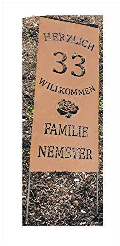 Jabo Design Rost Schild GA06 + HERZLICH WILLKOMMEN + Ihre Hausnummer + Rose + Familie + individueller Name (Text) / 100 cm hoch (Höhe gemessen ohne die Stangen/Bodenstecker) rost