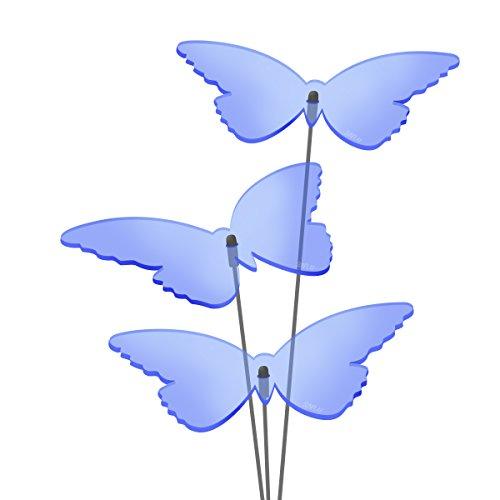 SUNPLAY Sonnenfänger 'Schmetterlinge Isabelle' in BLAU, 3 Stück je 10 cm Durchmesser im Set + 35 cm Schwingstäbe