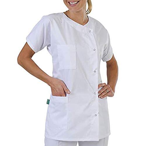 Skxinn Weiß Laborkittel für Unisex, Labor Ärztemantel Damen Herren Laborkittel Baumwolle Kurzarm Weiß Arztkittel Arbeitskleidung Mantel Labormantel Schutzkleidung