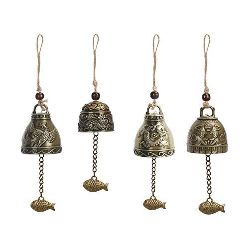 CHALA 4STK Klangspiele Windspiele Fengshui Glocke Dragon Bell Chinesische Antike Klare Stimme Dekoration Hängen Glück Segen für Haus Garten Innen und Außen