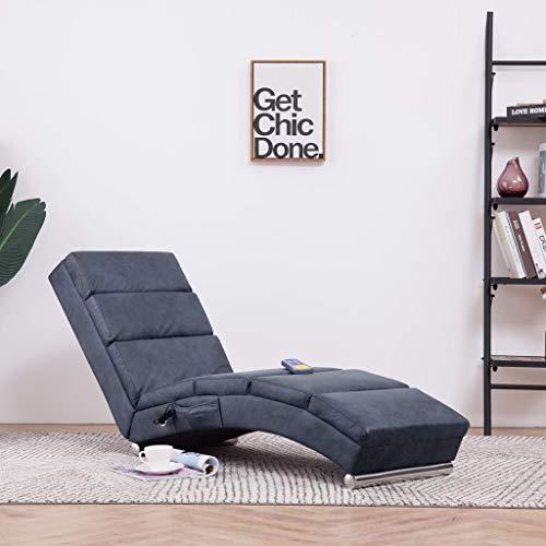 Festnight Massage Relaxliege   Wohnzimmer Liegesessel   Modern Relaxsessel   Liegestuhl   Sofaliege   Polsterliege   mit 5 Massagemodi und Heizfunktion   Grau Wildleder-Optik 155 x 51 x 71 cm