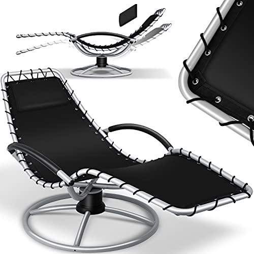 KESSER® Sonnenliege 'Bali' Liegestuhl 360° Schwingliege, Gartenliege, Relaxliege inkl. Kissen pflegeleicht, wetterbeständig, Comfort-Schwingbewegung, Liege stabiles Stahlrohr, Schwarz