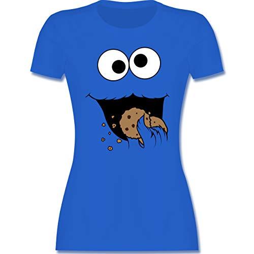 Karneval & Fasching - Keks-Monster - XXL - Royalblau - keks Monster Shirt Damen - L191 - Tailliertes Tshirt für Damen und Frauen T-Shirt