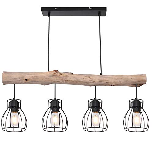 Design Decken Hänge Leuchte Holz Balken Pendel Spot Ess Zimmer Retro Gitter Lampe Globo 15326-4N
