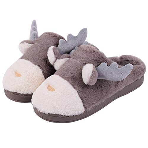 Aibrou Herren Damen Hausschuhe Winter Wärme Pantoffeln Home rutschfeste Slipper mit Memory Foam Plüsch Weihnachten Cartoon Elch