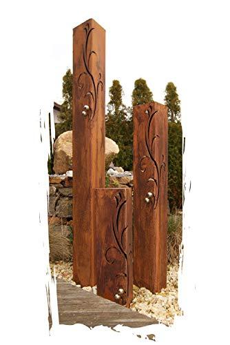 JH-Metalldesign Säulenset Barocco Säule Set Edelrost Rost Romantik Gartendeko Garten Edelstahl - Kugeln