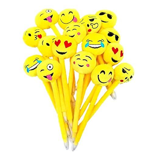 JZK 16 Niedlichen Emoji plüsch Stifte kugelschreiber Kuli Set Spielzeug Geschenk Mitgebsel Gastgeschenk für Geburtstag Kinder Party