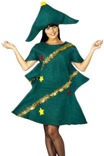 Smiffys, Damen Weihnachtsbaum Kostüm, Tunika, Hut und Lametta, Größe: One Size, 28265