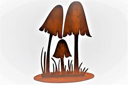 Rostikal | Edelrost Pilze auf Bodenplatte | Metall Dekoration für den Herbst | 25 cm hoch