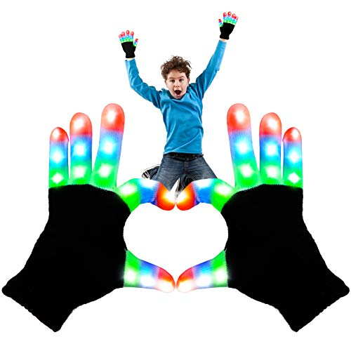 Aomeiqi leuchtende Handschuhe, LED blinkende bunte Finger Gloves Coole Spielzeuge Handschuhe mit LED, lustige Handschuhe als Geschenke zu Weihnachten Geburtstag und Karneval für Kinder Mädchen Junge