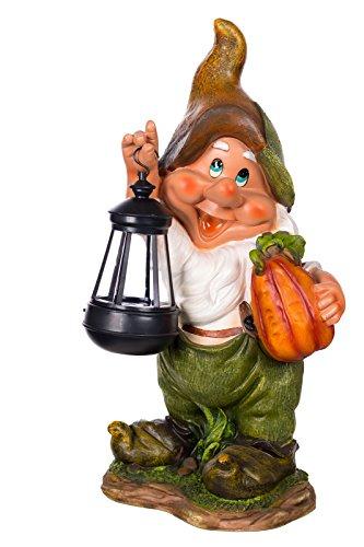 Figur Zwerg Gartenzwerg Gartenwichtel mit LED Solarlampe NF11021-1D Groß Deko Zwerg, Gartendekoration Gartenfigur 38cm