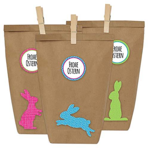 Papierdrachen 12 DIY Geschenktüten zu Ostern zum Basteln - Kreatives Osternest mit 12 Papiertüten und Osterhasen Aufklebern - Design 3
