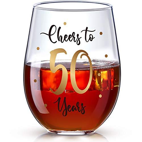 50. Geburtstag Stammlos Weinglas, Gold Cheers to 50 Years Geburtstag Weinglas Geschenk für Männer Frauen 50. Geburtstag Party Hochzeit Jahrestag Party Dekorationen, 17 Unzen Stammlos