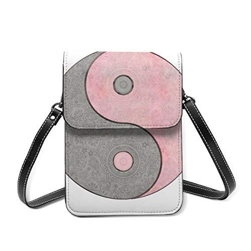 Handy-Geldbörse Yin Yang Esoterik-Symbol, Pastellrosa, Grau, kleine Umhängetasche, Mini-Handytasche, Reisepass-Geldbörse mit verstellbarem Schultergurt