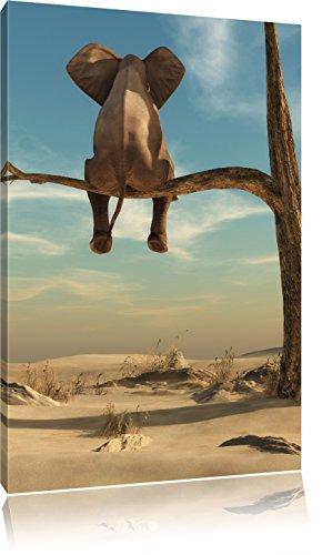 Pixxprint Elefant auf einem AST in der Wüste als Leinwandbild | Größe: 80x60 cm | Wandbild | Kunstdruck | fertig bespannt