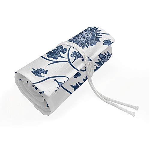 ABAKUHAUS Blau Mäppchen Rollenhalter, Chinesischer Garten Traditionelle, langlebig und tragbar Segeltuch Stiftablage Organizer, 36 Schlaufen, Blau Weiss